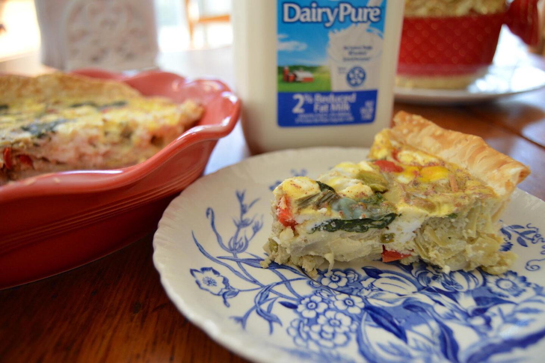 Artichoke, Spinach, Goat Cheese & Red Pepper Quiche