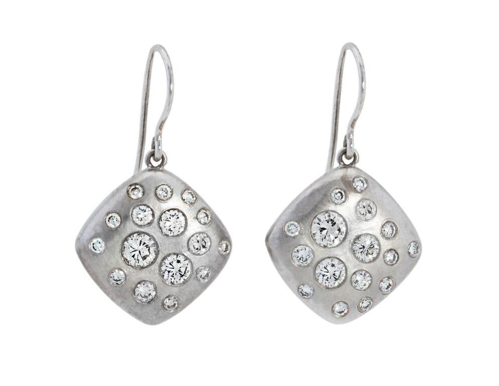 White Gold and Diamonds Drop Earrings