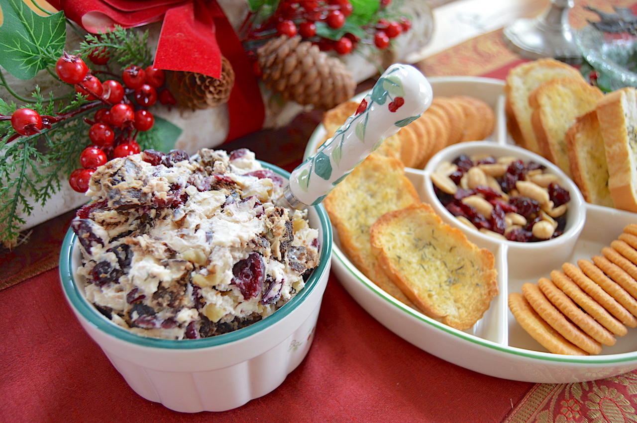 Fig and Walnut Holiday Herbed Cheese Spread