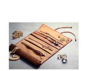 LEATHER JEWELRY ROLL NO. 229 _ CHESTNUT (styled)-min