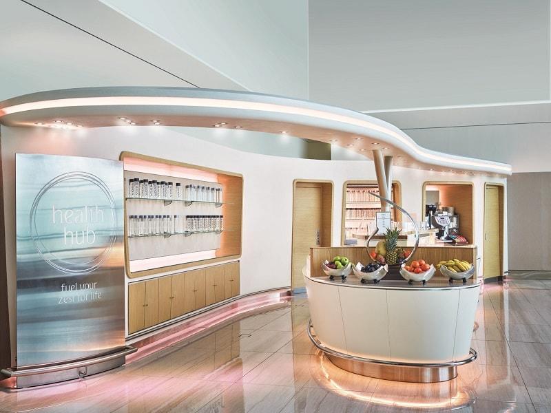health hub dubai emirates business class lounge east end taste