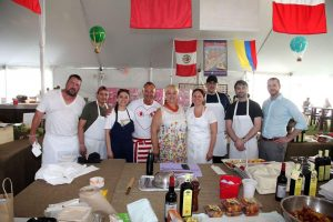 Lidia Bastianich Food station at 15th Annual SWCRF Hamptons Happening with Chef William Gallagher at Becco and Nicotra Fortunato at Felidia-min