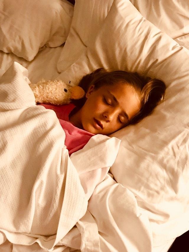 bed bedroom blanket girl sleeping