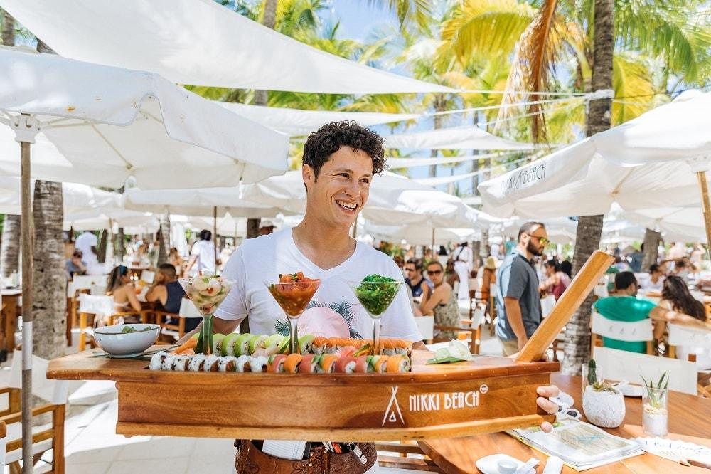 Nikki Beach Miami Beach east end taste sushi boat