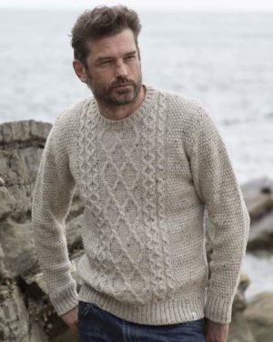 mens cable crew neck jumper oatmeal