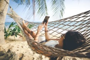 hammock winter vacation escape cell phone