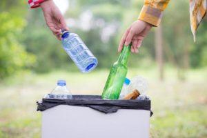 eco-friendly recycling plastic bags in bin