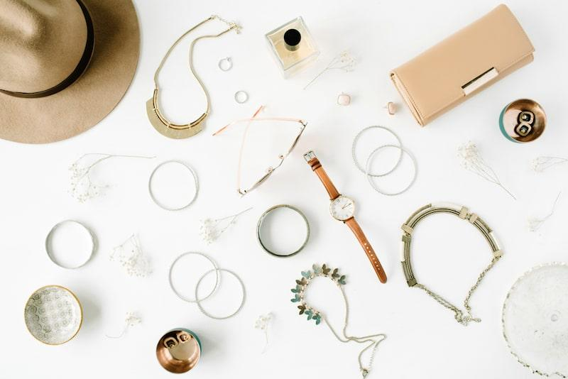 jewelry accessories hat watches flatlay