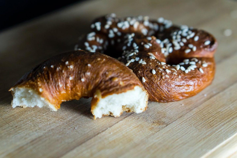 soft baked pretzel pieces with salt