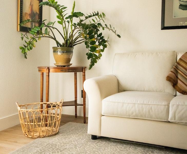 living room interior white wicker basket