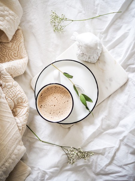 coffee on bed cozy